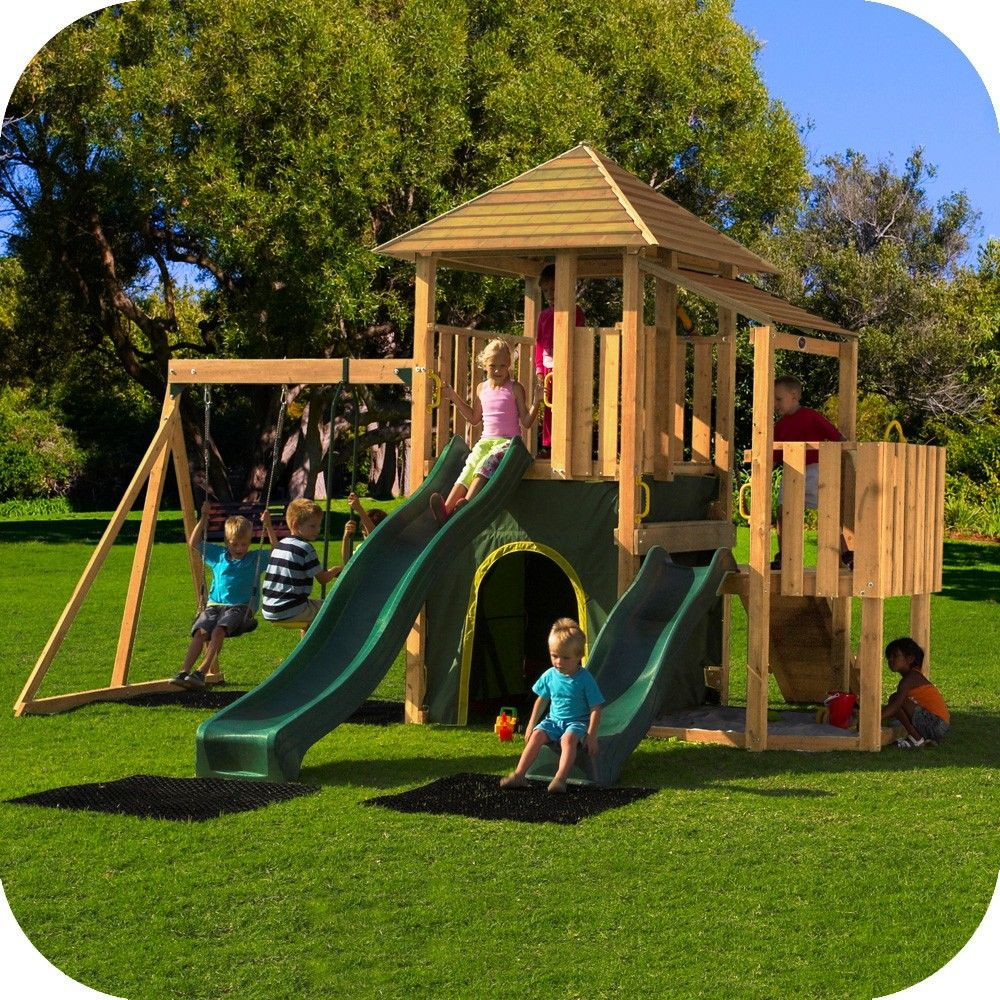 plum bison wooden climbing frame outdoor play centre with swings