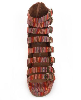 Jeffrey Campbell All-Caps Red Aztec Stripe Belted Wedge