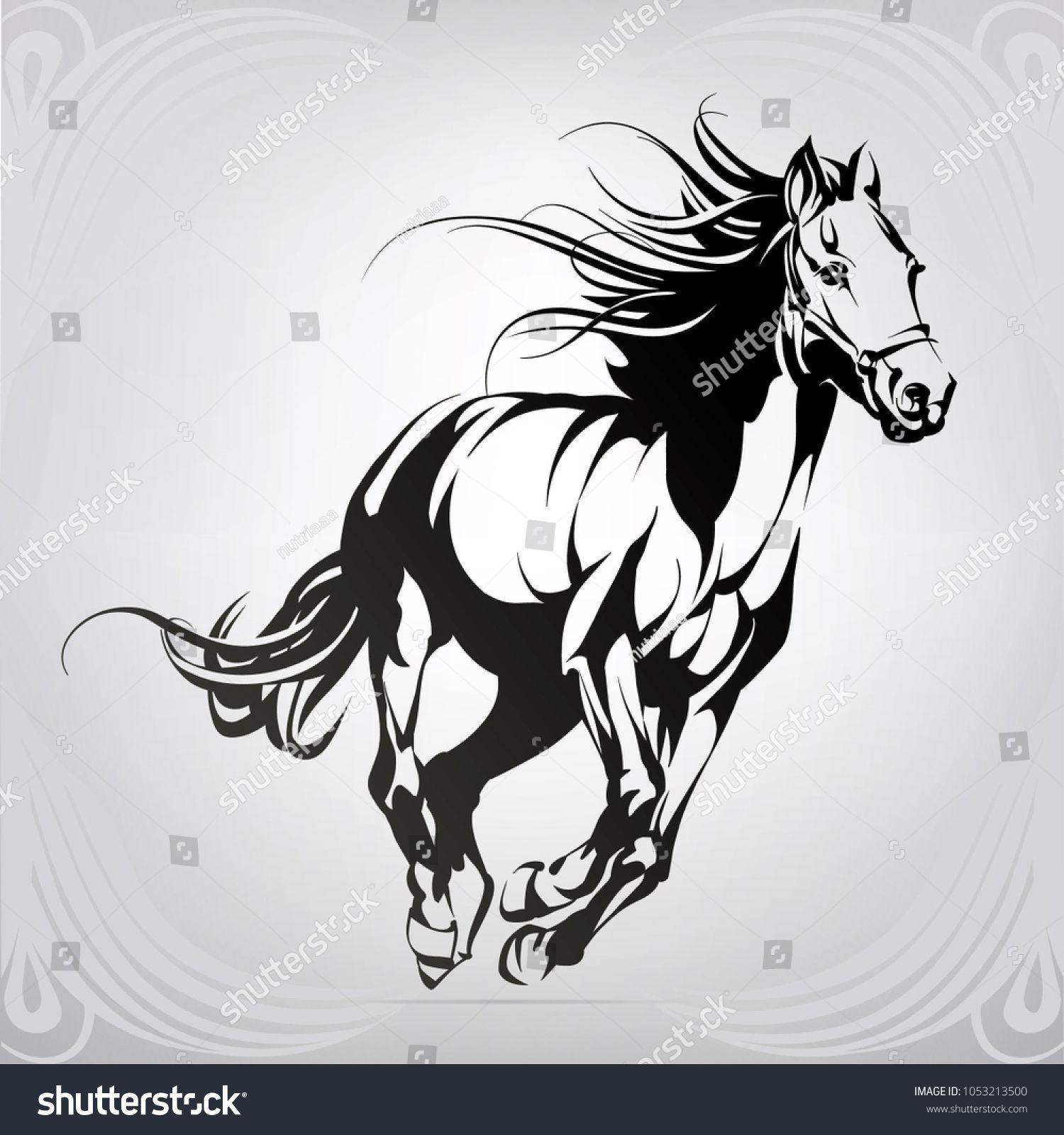 Silhouette of the running horse dibujio nel 2019 for Disegni di cavalli a matita