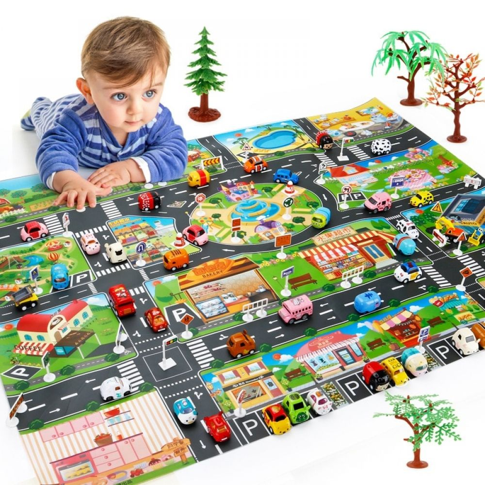 Children Dinosaur City Map Model Toy Indoor Crawling Mat Game Pad 130 100cm Family Interactive Toys For Children Diy Playing Interactive Toys Toys For Boys Kids Toys