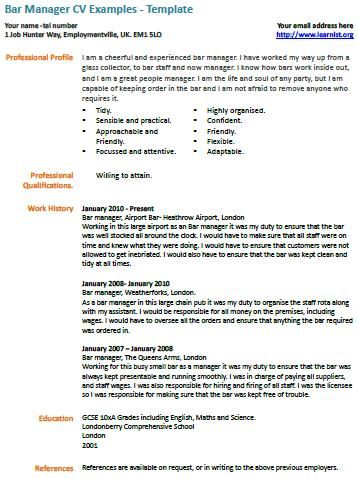 Bar Manager Cv Example Learning Sample Resume