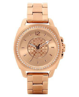 Coach Boyfriend Bracelet Watch Rose Gold Crystal Birthday Present