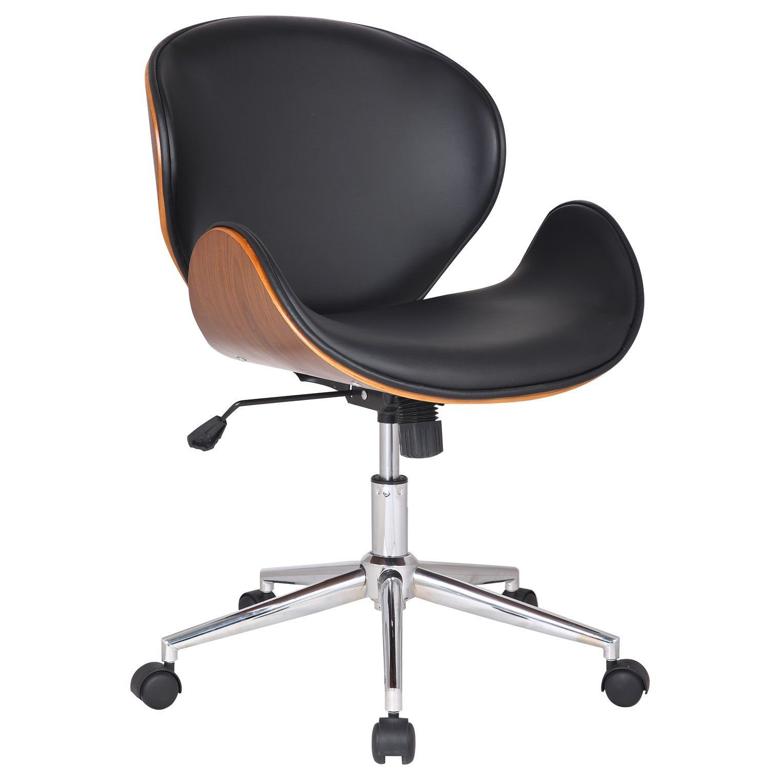 adeco bentwood walnutcolor home office chair leatherette cushion seat with curved back ch0162 ch0162