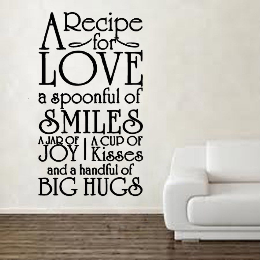 A recipe for love nice as a wall decor to remind us each for Decor quotations