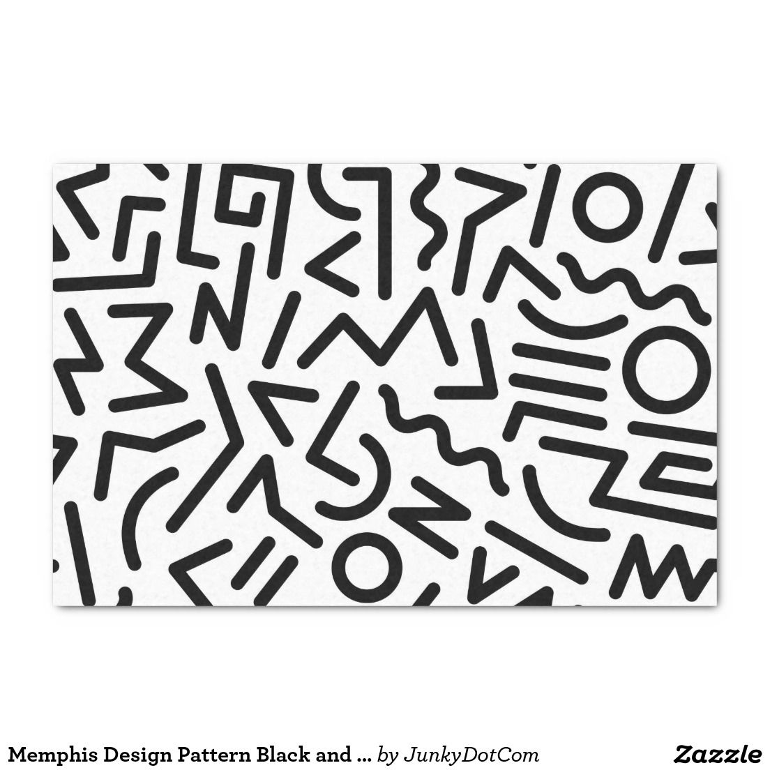 Memphis Design Pattern Black and White Tissue Paper