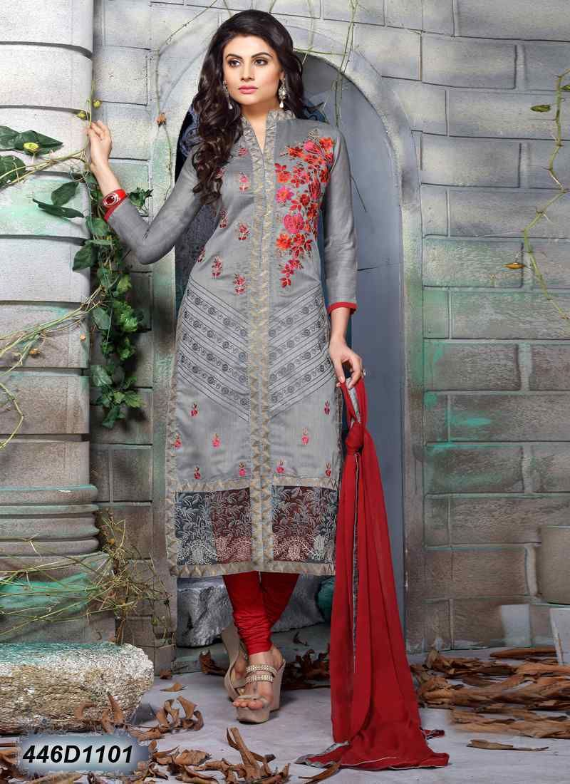 6a01c3a336 Dashing Grey Coloured Chanderi and Net Unstitched Salwar Suit ...