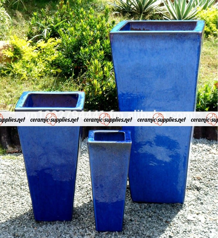 Tall Tapered Square Planters Outdoor Glazed Pots Ceramic Flower Pots Vietnam Pottery Manuf Ceramic Flower Pots Terracotta Flower Pots Flower Pots Outdoor