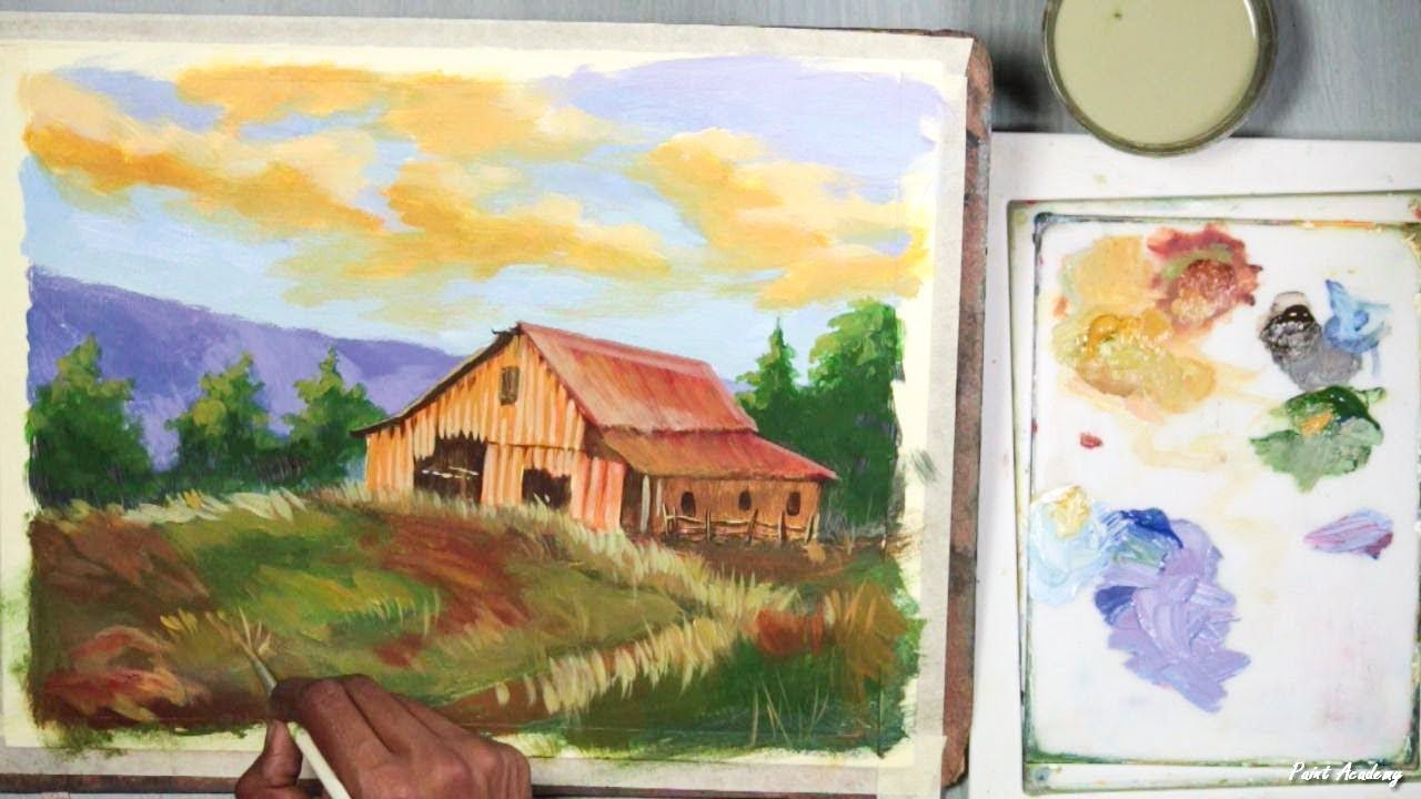 Acrylic Painting A Mountain House Landscape Step By Step