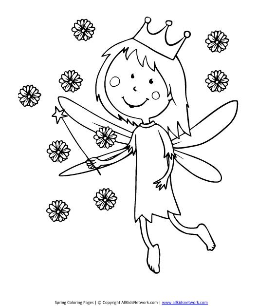 fairy coloring page (With images) | Coloring pages, Spring ...