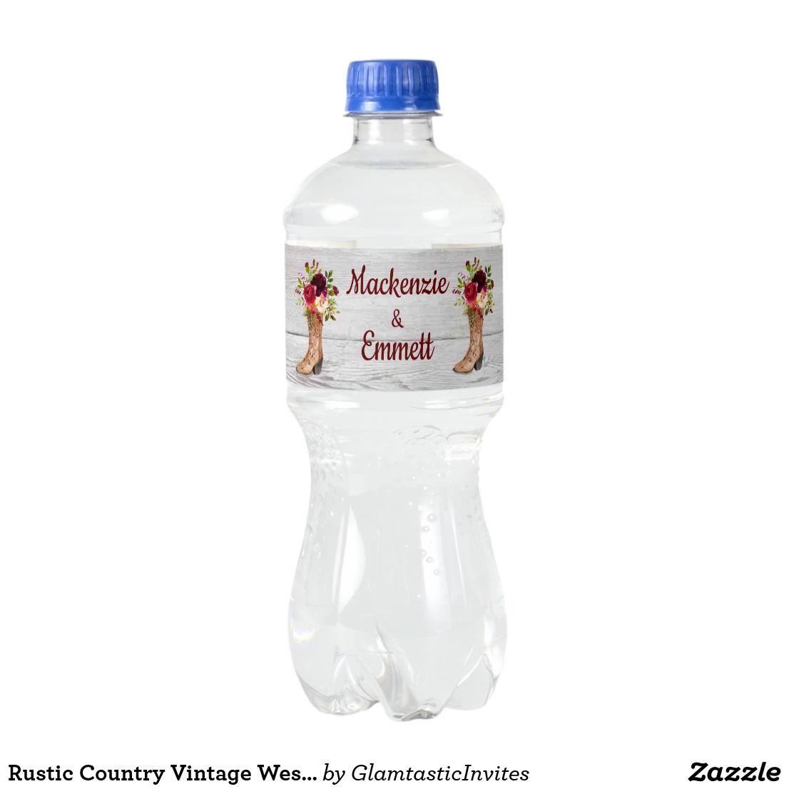 Rustic Country Vintage Western Wedding Favor Boot Water Bottle Label ...