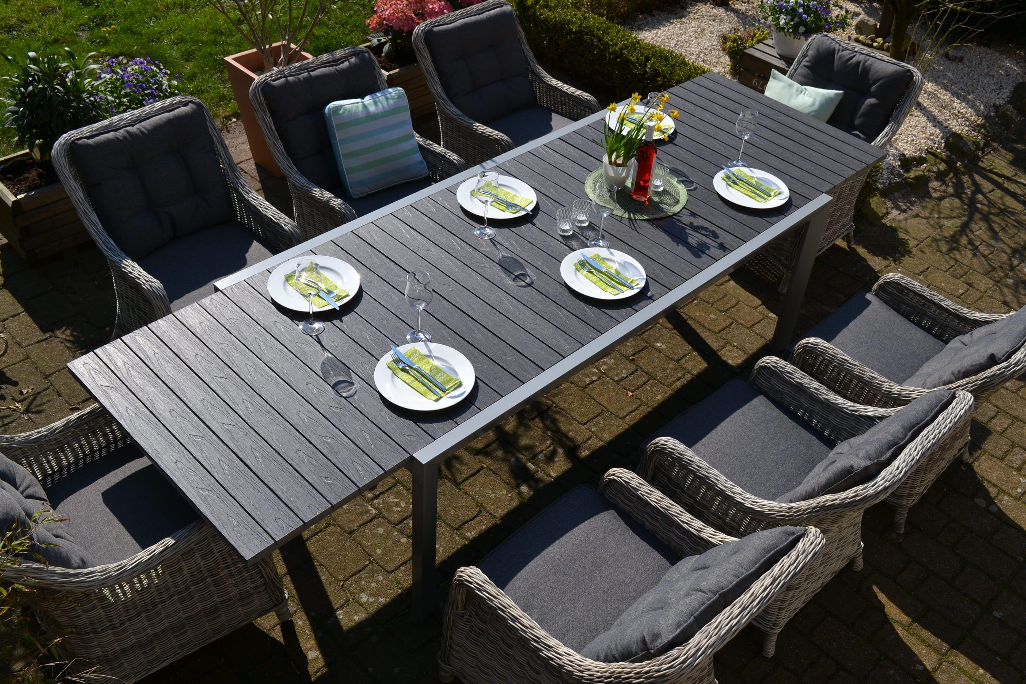 Essgruppe Neapel Xl Tisch Verlangerbar 203 305x100cm 8 Sessel Grau Polster Grau Aussenmobel Sessel Grau Essgruppe