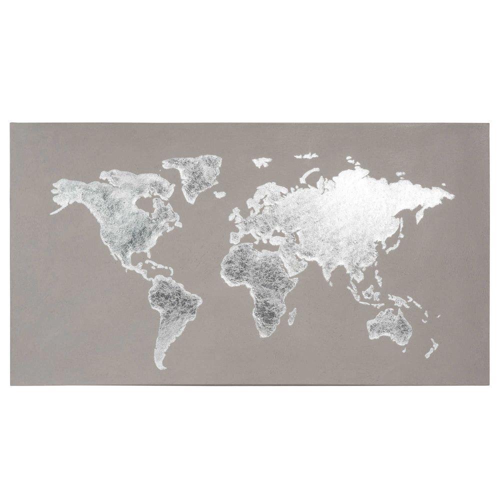 toile carte du monde grise 110x60 map world pinterest mappemonde maison du monde et toiles. Black Bedroom Furniture Sets. Home Design Ideas