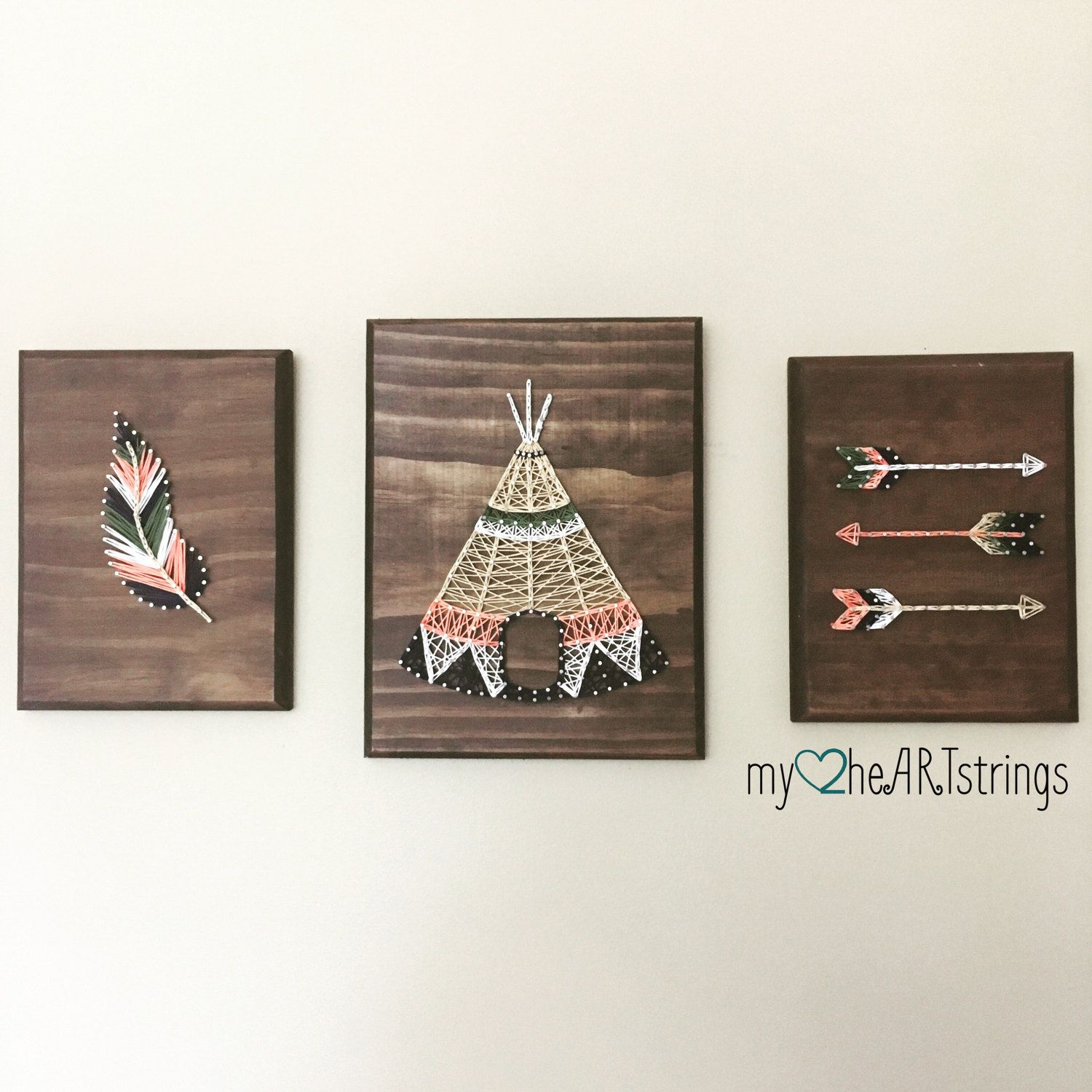 Love my Tribe string art trio- feather, arrow, teepee | String art ...