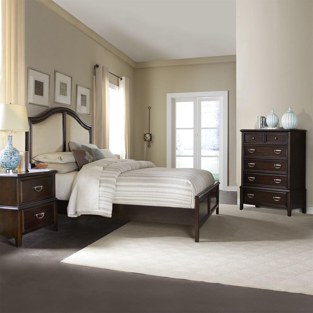 Isabel Dark Cherry Brown Transitional 3-piece King-size Bedroom ...