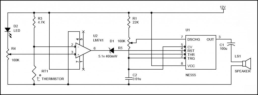 Simple Fire Alarm Circuit Using Thermistor, Germanium