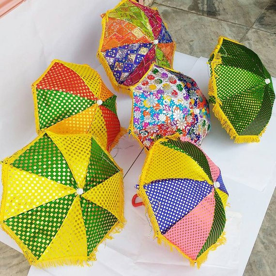 Decorative Handmade Umbrella Folding Parasol Tikki Indian Assorted Wholesale Lot