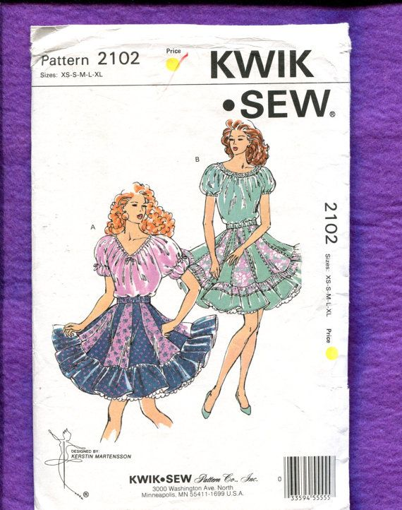 Kwik Sew 2102 Sqaure Dancing Skirt & Tops Sizes 8 to 20