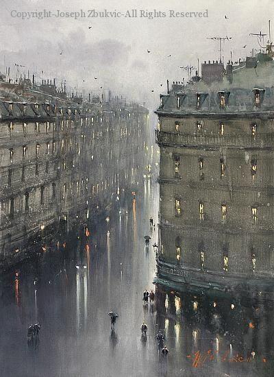 Paris in the Rain - Watercolor by Joseph Zbukvic