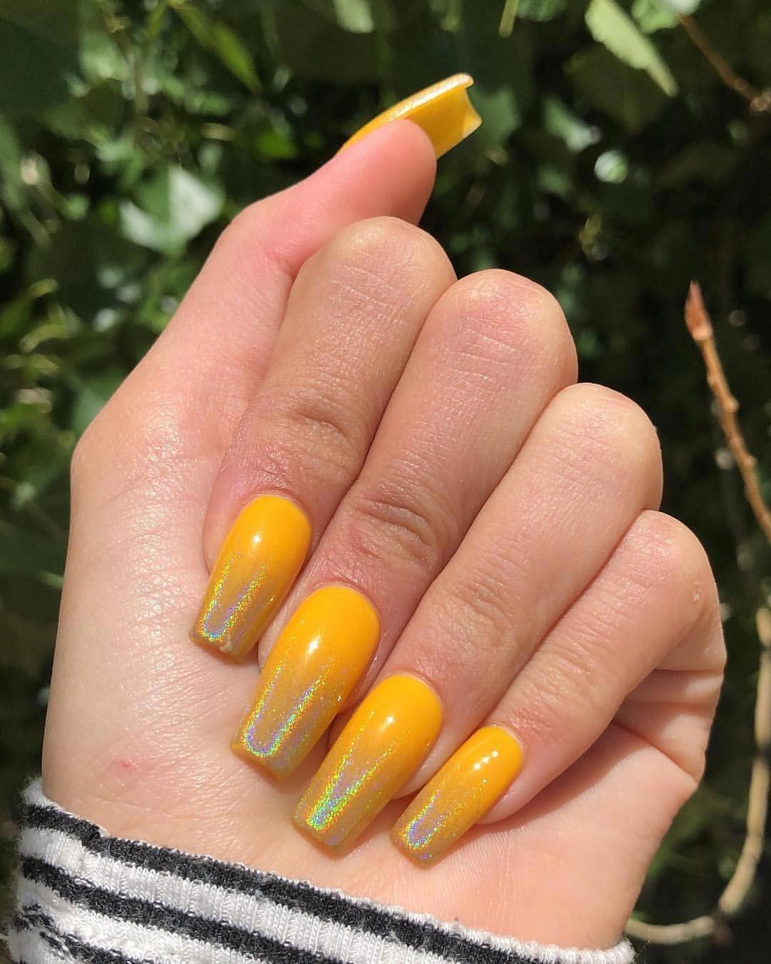 "Model Malay on Instagram: ""Finally got my hands on @apresnailofficial ������������������ ▪️ ������: @darleennee_nails #yellow #yellownails #holographic #holographicnails…"""