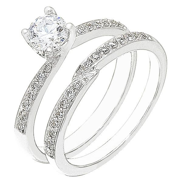 Diamond Wedding Ring Set, .24 Carat Diamonds On 14K White Gold