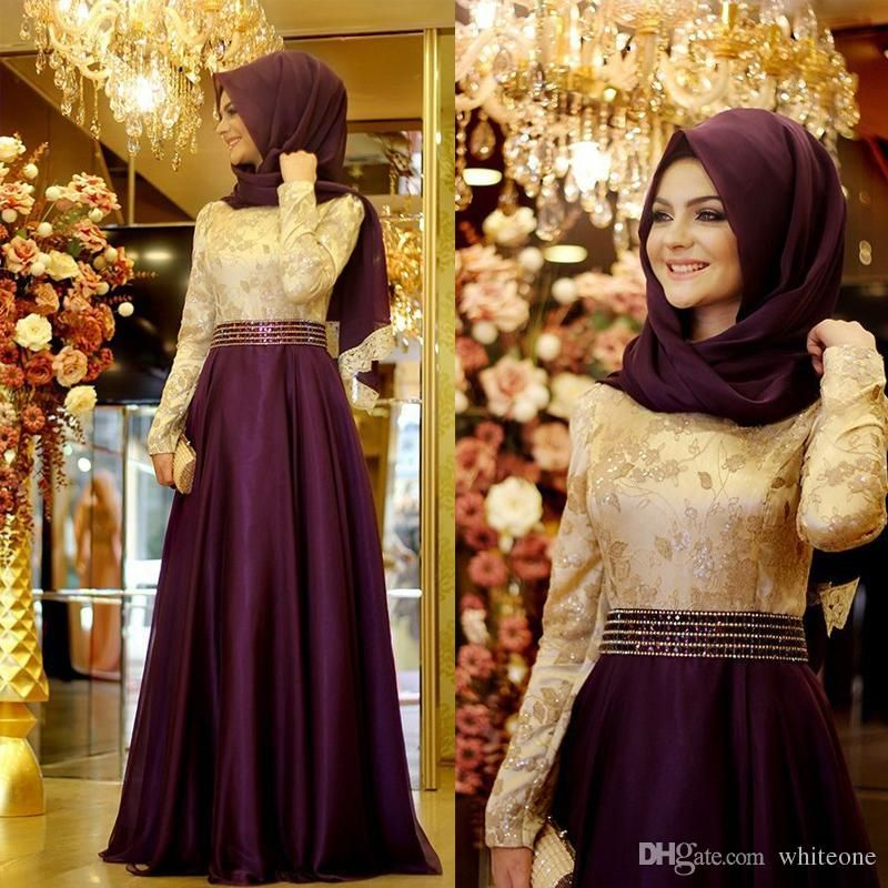 Elegant Muslim Long Sleeves Women Evening Formal Dresses 2016 Crew ...