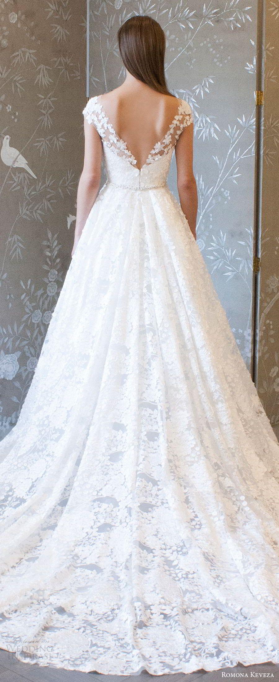 Lace wedding dress with cap sleeves sweetheart neckline  Romona Keveza Collection Spring  Wedding Dresses  Romona Keveza