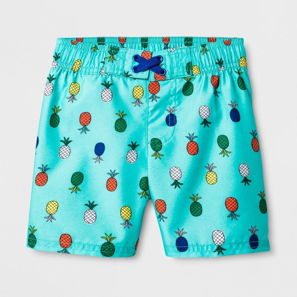 d2e3c840e7 Toddler Boys' Pineapple Swim Trunks - Cat & Jack Aqua 5T, Blue ...