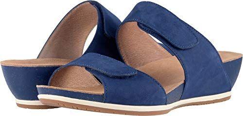 Dansko Womens Vienna Slide Sandal Blue Milled Nubuck 38 M