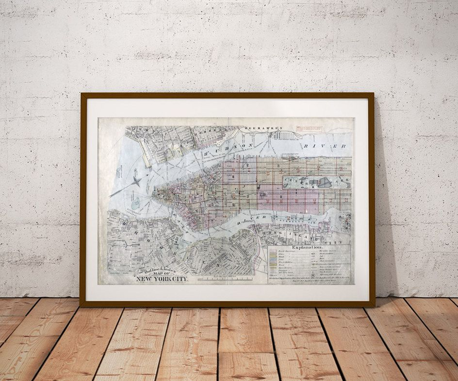 Old map of NEW York and Brooklyn city antique picture art print ...