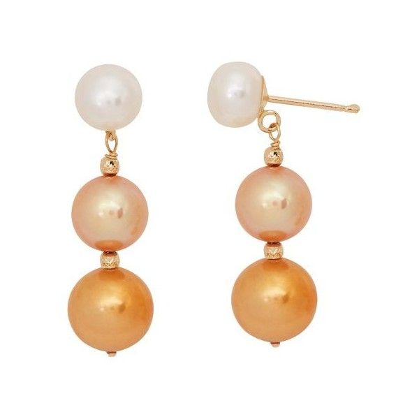 Honora Yellow Gold Champagne Ombre Pearl Drop Earrings 185 Liked On Polyvore Featuring Jewelry White