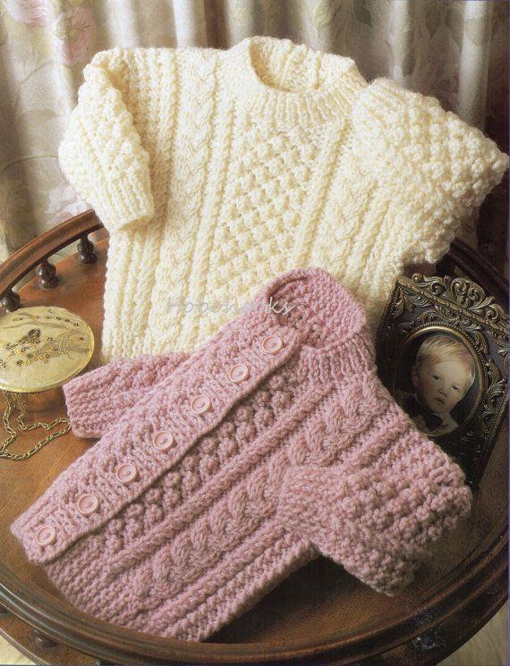 B8090 Bebé tejido patrón bebé Aran suéter bebé Aran Childs Aran ...