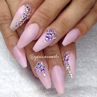 Pink matte coffin nails with rhinestones | N a i l s ...