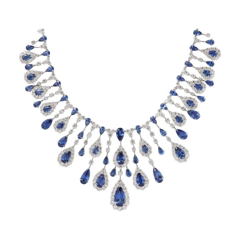 Blue Sapphire And Diamond Drop Necklace In 2020 Diamond Drop Necklace Diamond Drops Drop Necklace