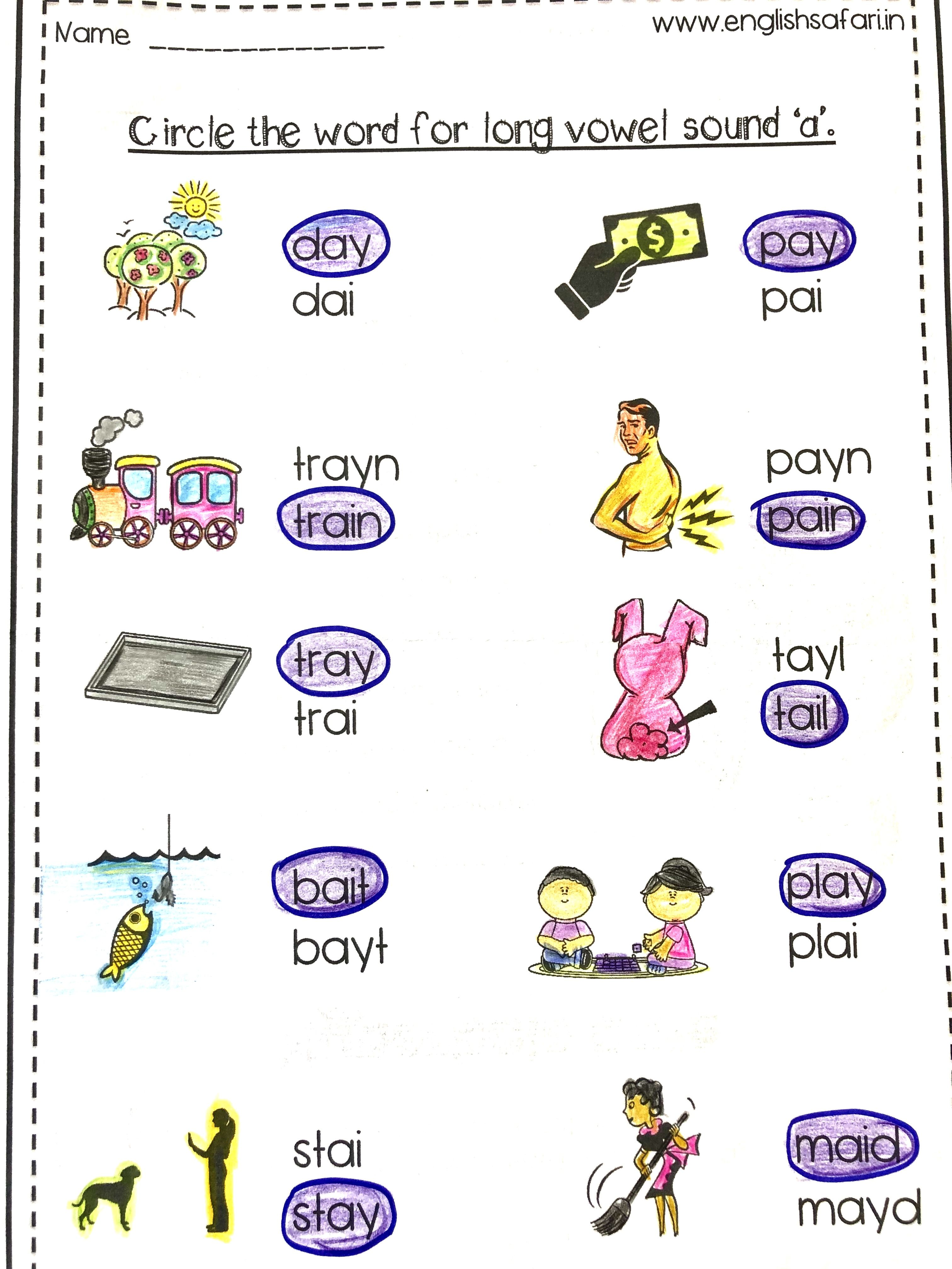 Long Vowel Words Spell Worksheets Free In