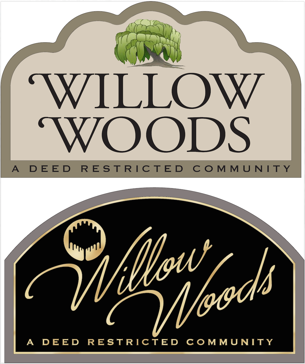 entrance signs for willow woods deed restricted community strata