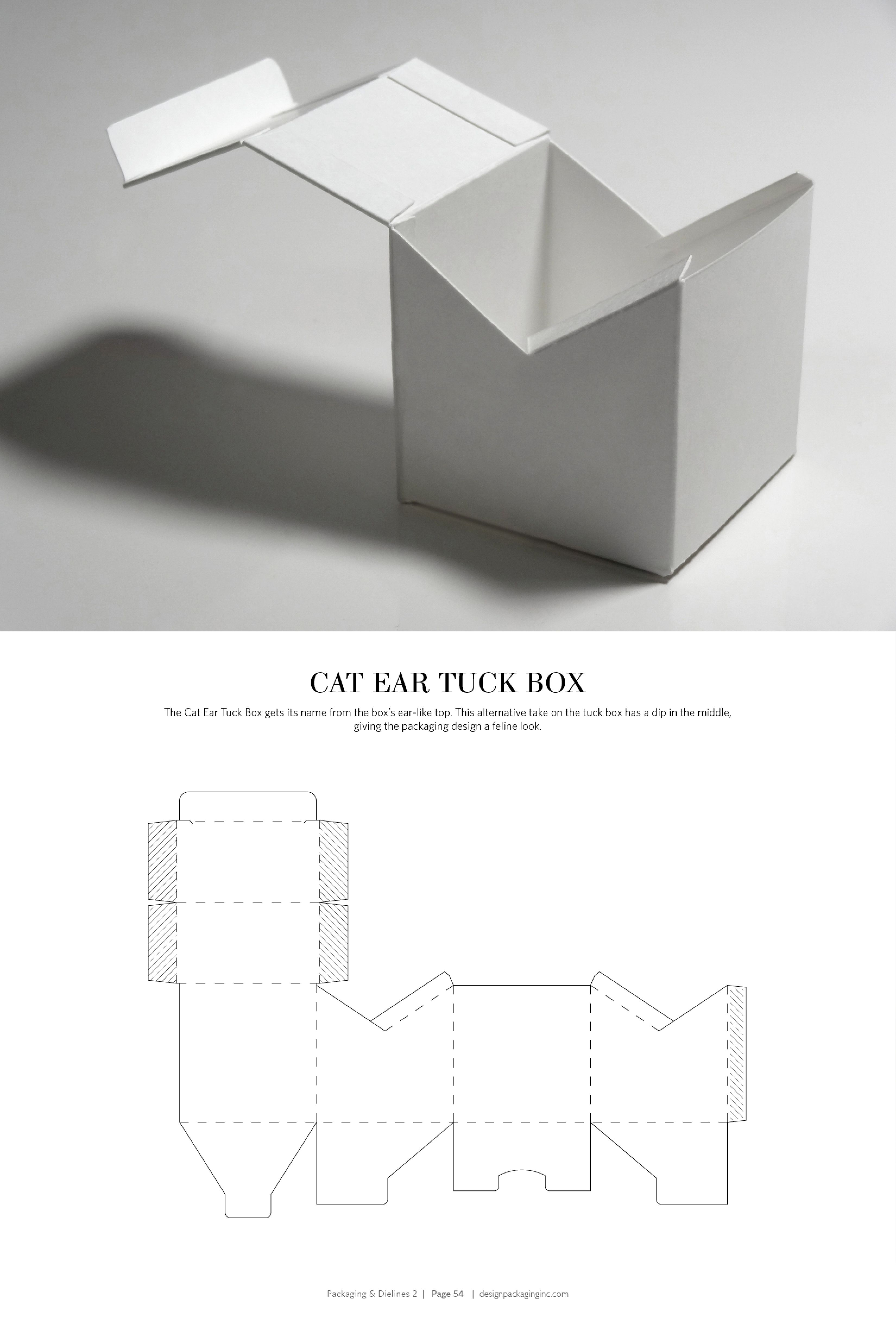 cat ear box free resource for structural packaging design dielines [ 3300 x 4875 Pixel ]