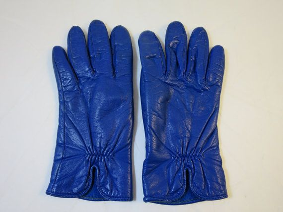 Vintage Leather Gloves Cobalt Blue Size Medium Lined Leather Driving Gloves Elastic Wrist Gusset Fingers  Soft, Supple