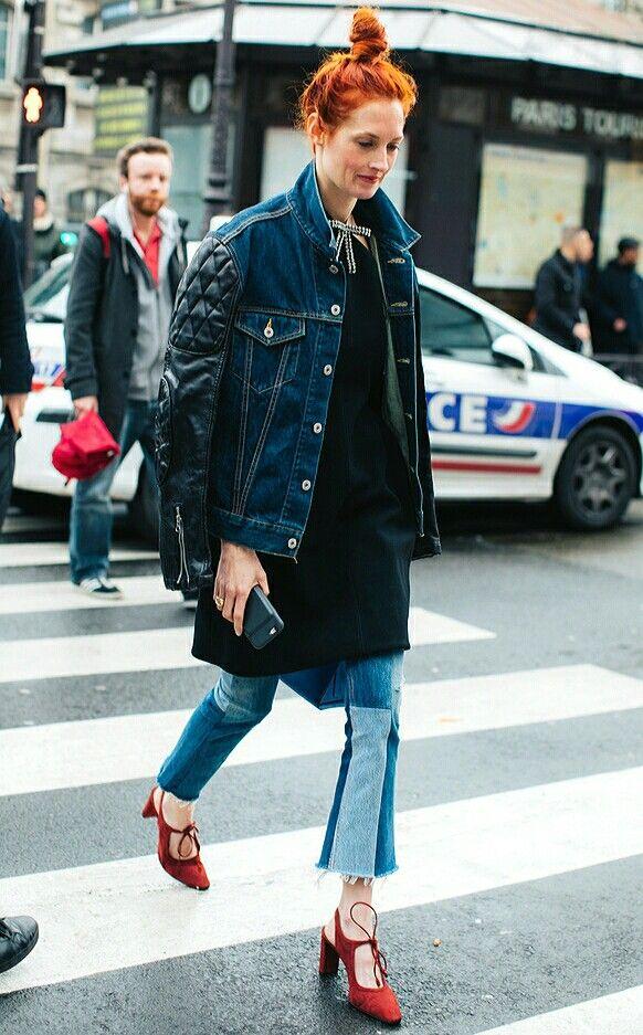 Street Style, Denim, Jeans, Orange Hair
