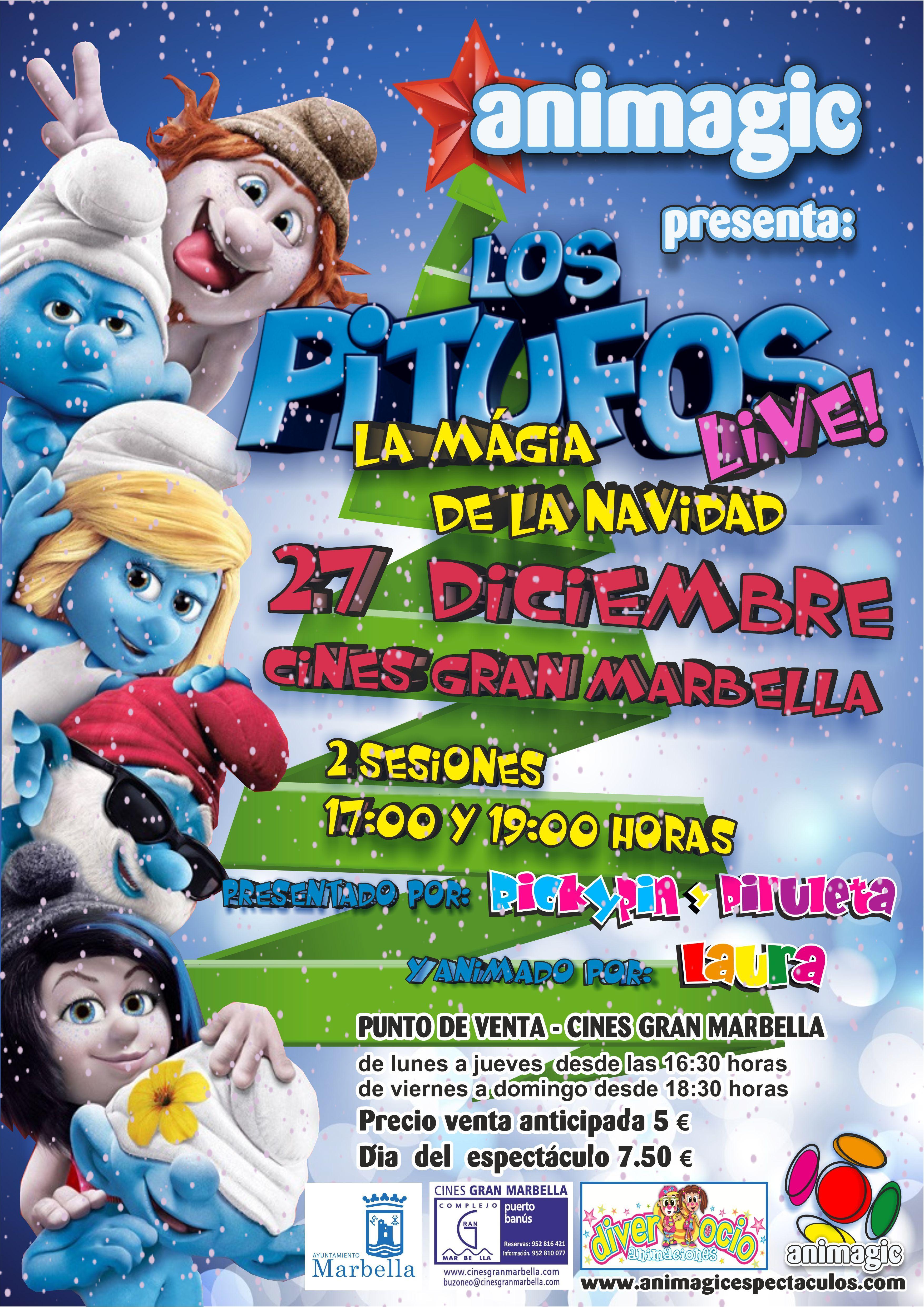 LOS PITUFOS Y LA MAGIA DE LA NAVIDAD, ha sido la ultima creación como gran espectaculo de Animagic y estrenado en la Navidad 2013, gran éxito y ya a la espera de una nueva versión para 2014.