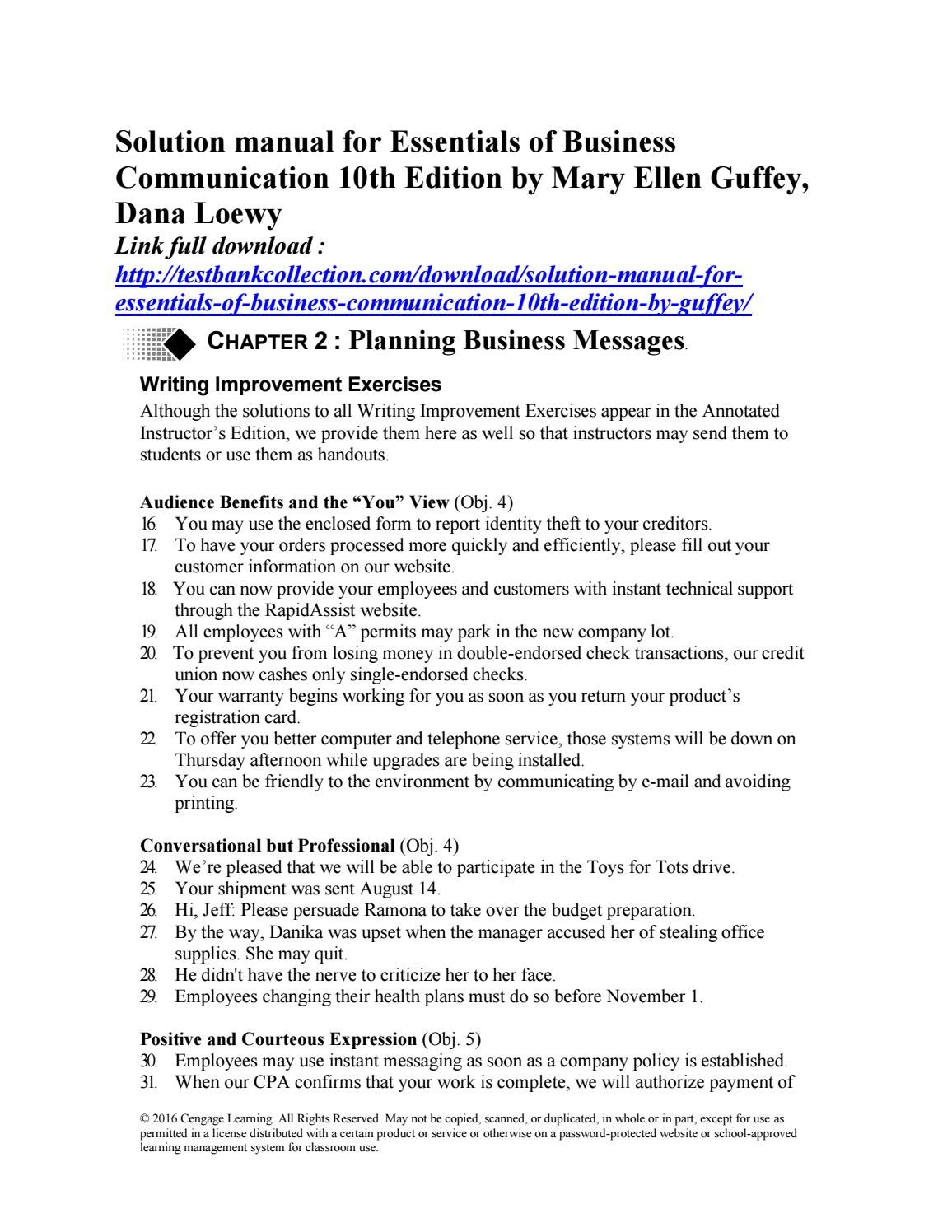 Business Essentials 9th Edition Download Wiring Library Titan Toro 5200 Diagram Solution Manual For Of Communication 10th By Guffey Loewy