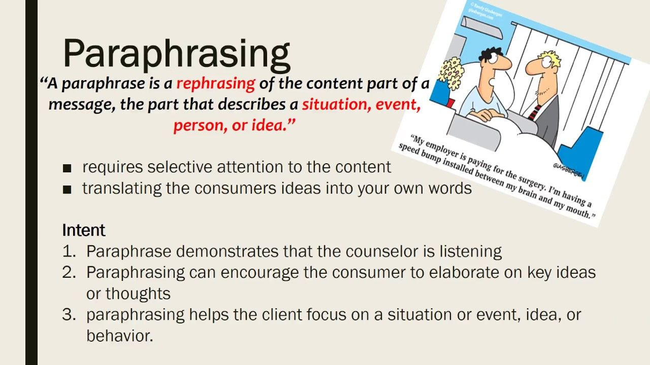 Counseling Technique Paraphrase Self Disclosure Summarization Conf Motivational Interviewing Activity For Paraphrasing