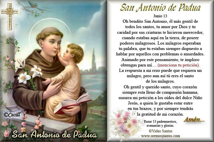 Oraciones A San Antonio De Padua Oracion A San Antonio San Antonio De Padua Antonio De Padua