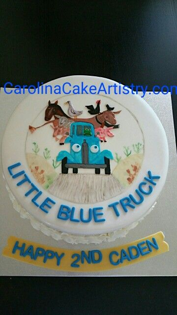 """Really cute birthday cake """"Little Blue Truck """" theme!  All hand painted and edible too!"""
