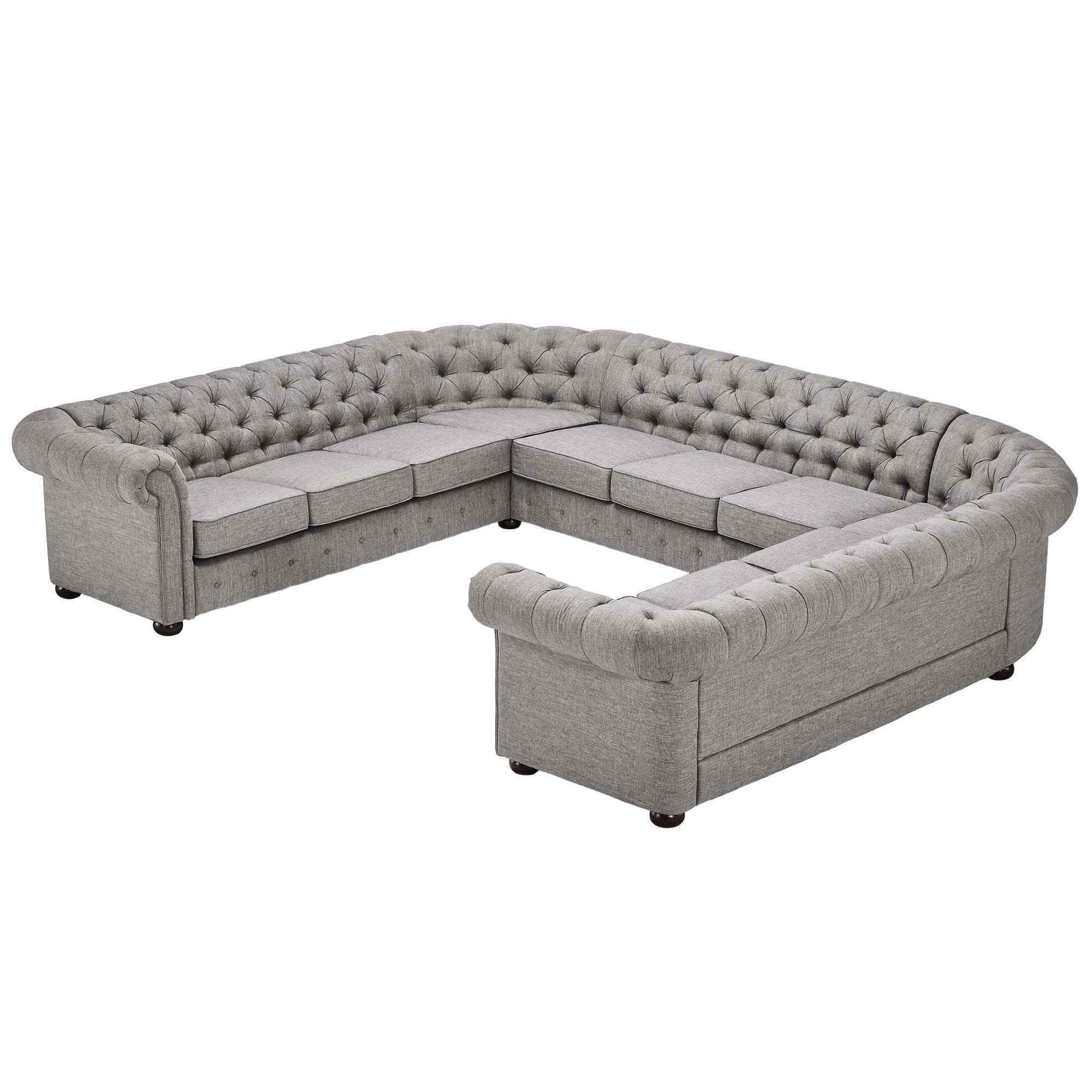 Tribecca Home Knightsbridge Beige Linen Tufted Scroll Arm Chesterfield Sofa Small Cote 11 Seat U