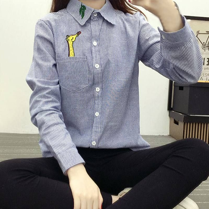 76dc88ecf Click to Buy << Women Cotton Long Sleeve Turn-down Collar Linen Embroidery  Giraffe Cat Shirt Blouse Tops Body Striped Shirt #Affiliate
