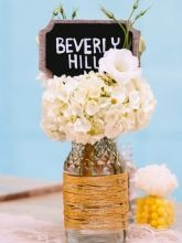 """For sale- Set of 8 Unique Los Angeles Themed Table """"Numbers"""" - ( gold wrapped vases available in separate posting)"""