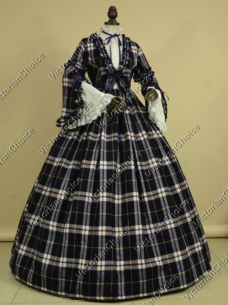 High Quality Civil War Victorian Blend Tartan Ball Gown Historical ...