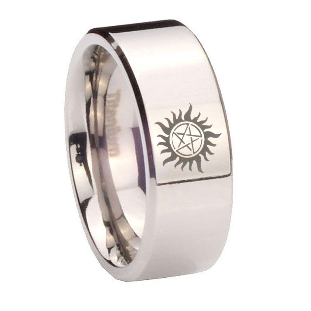 8MM Titanium Supernatural Silver Pipe Cut Men's Ring Size 12