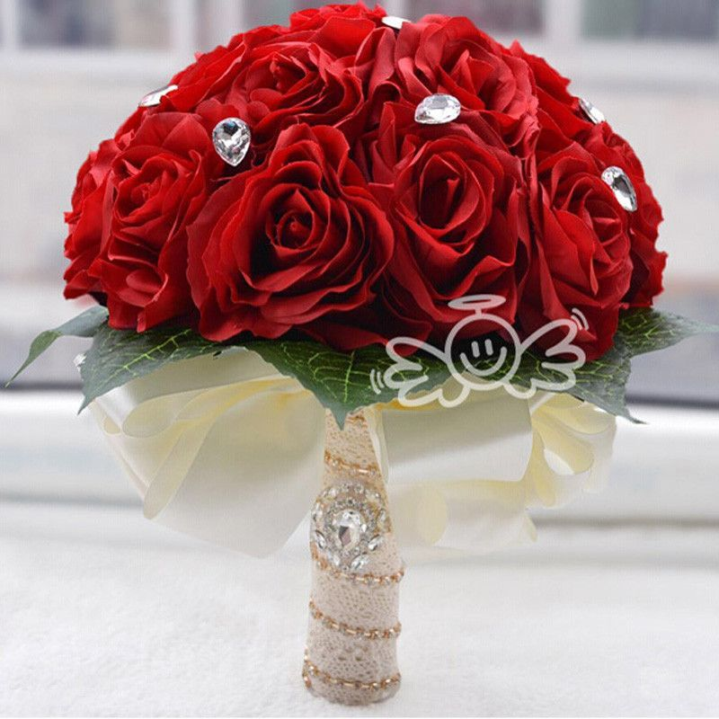 Beautiful Red White Pink Artifical Rose Bridal Bouquet In Stock Demoiselle D