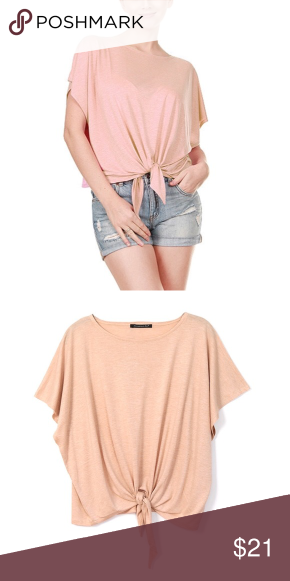 """Dust Pink Jersey Knotted Top Solid Color / Size : 22.5"""" L x 30"""" W ( One size ) / Material : 65% Viscose , 35 % Polyester Tops Tees - Short Sleeve"""